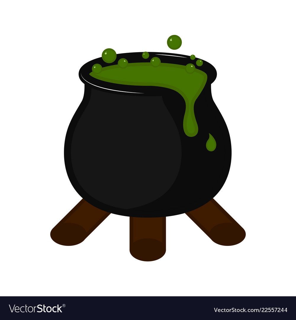 Isolated halloween witch cauldron icon vector image.