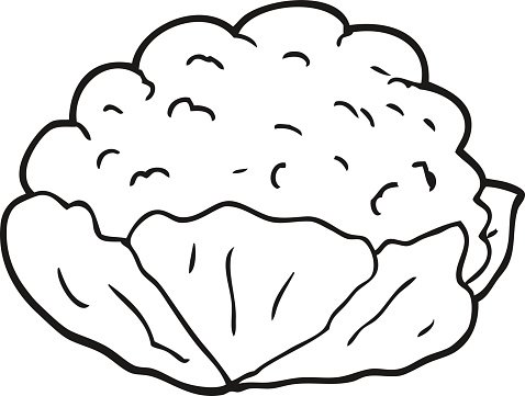 black and white cartoon cauliflower Clipart Image.