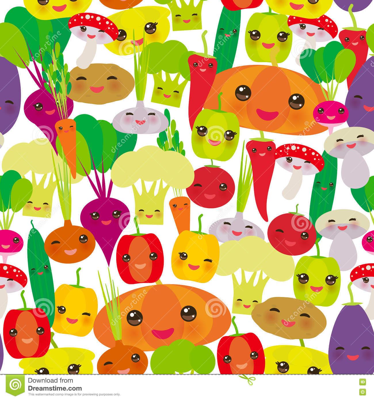 Seamless Pattern Kawaii Bell Peppers, Pumpkin Beets Carrots.