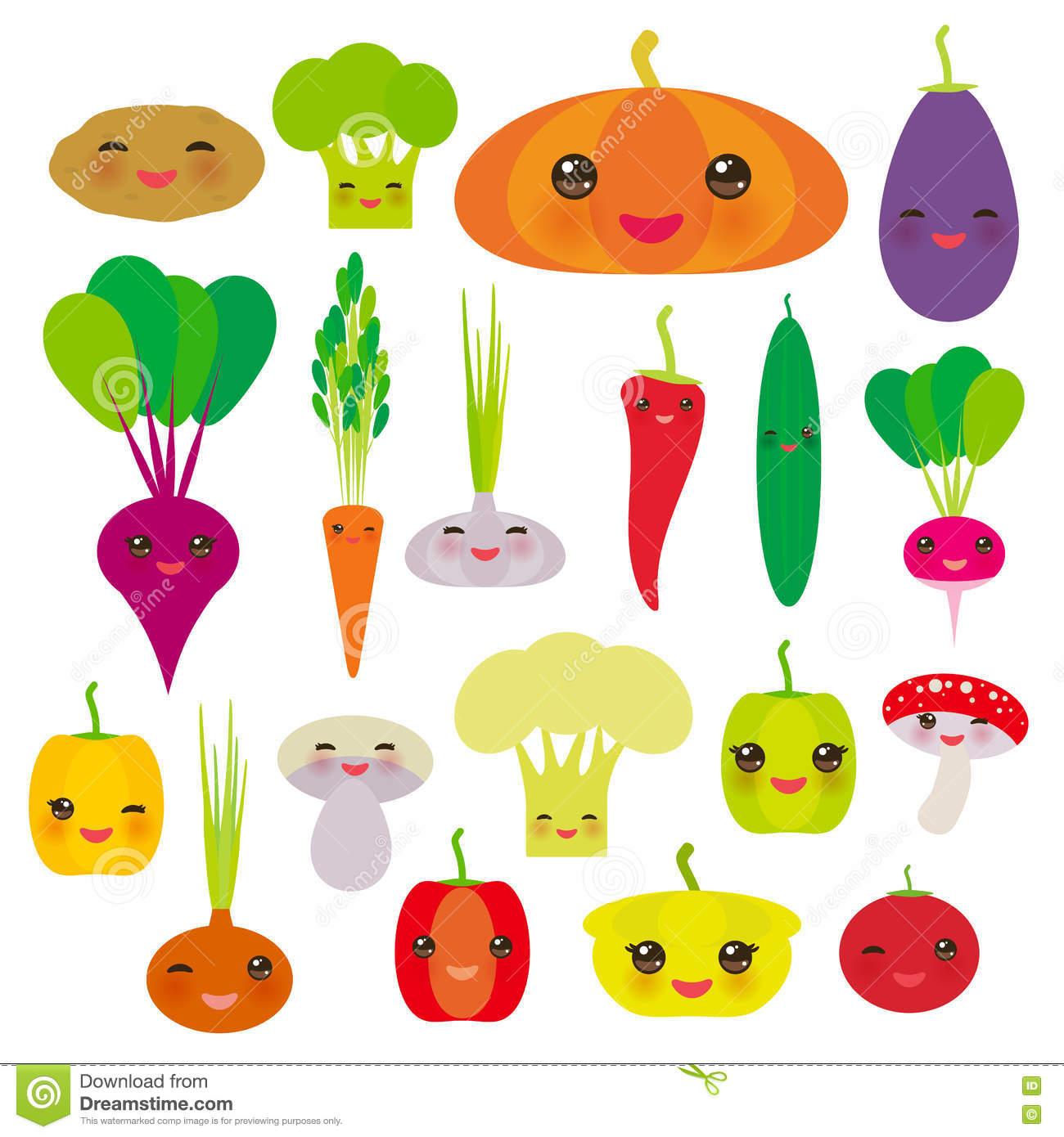Kawaii Vegetables Bell Peppers, Pumpkin Beets Carrots, Eggplant.