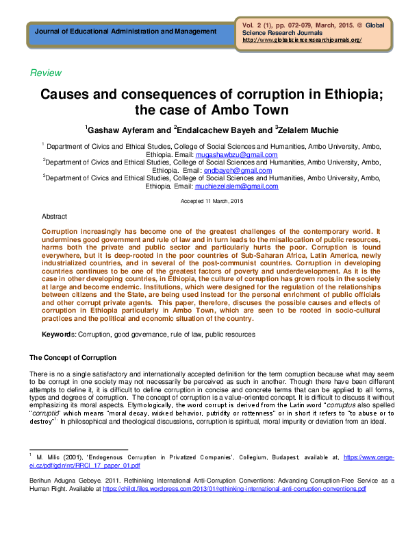 PDF) Causes and consequences of corruption in Ethiopia; the case of.
