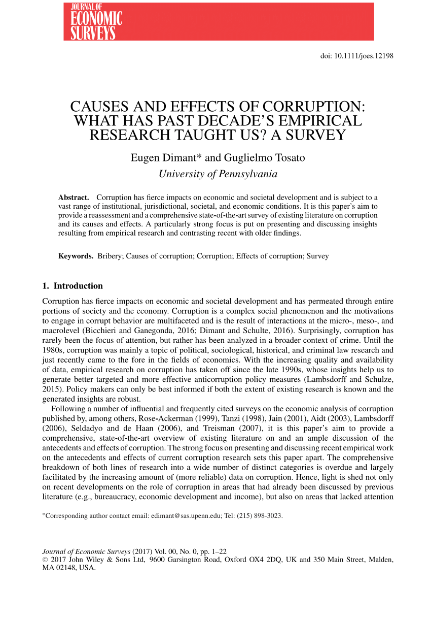 PDF) Causes and Effects of Corruption: What has Past Decade's.
