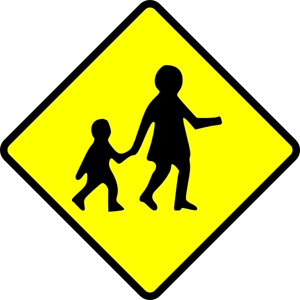 Children Crossing Caution clip art Free vector in Open office.