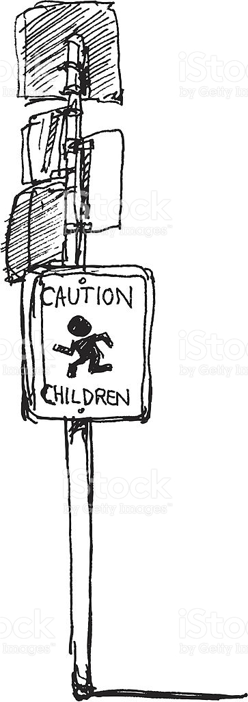 Caution Children Sign Sketch stock vector art 165906043.