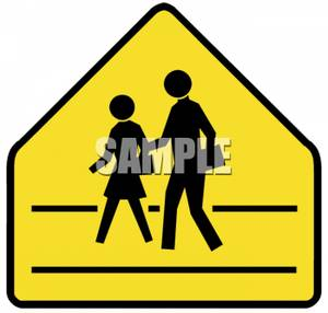 Children Crossing Caution Road Sign.