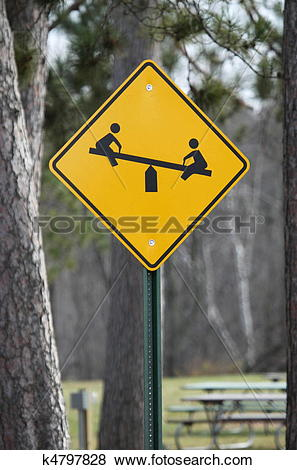 Stock Illustration of Caution Children at Play Teeter Totter Sign.
