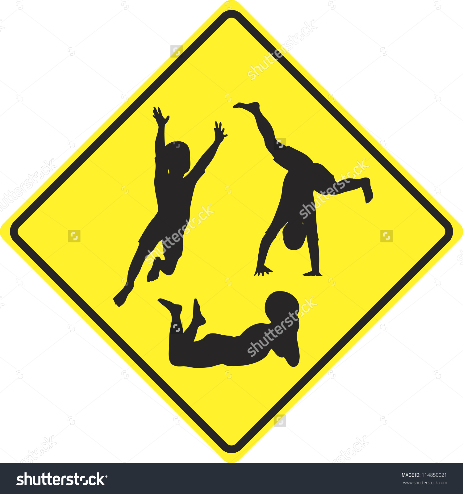 Caution Kids Playing Traffic Sign Slow Stock Illustration.