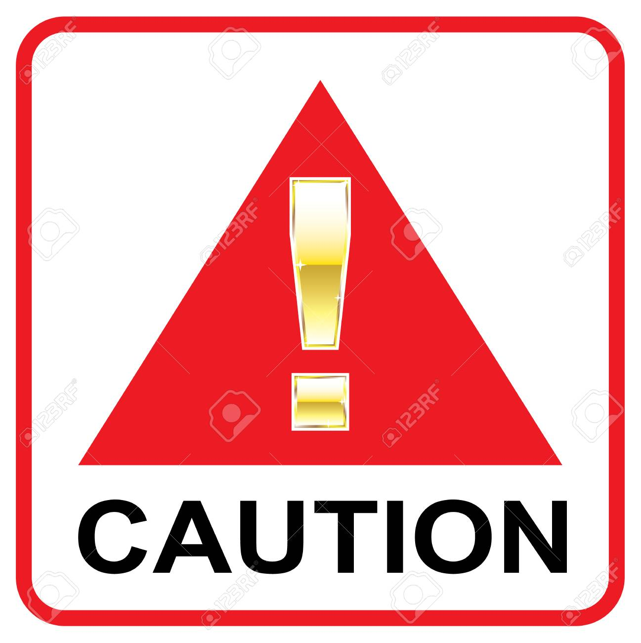 Red Caution sign vector sign illustration clip.