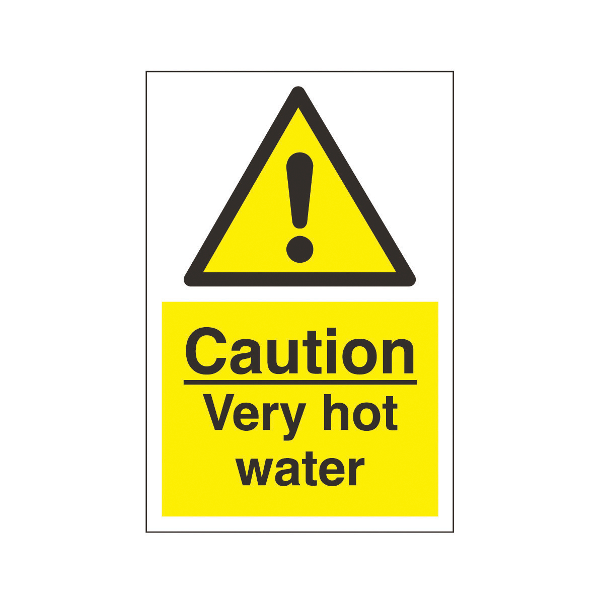 Caution Very Hot Water Safety Sign.