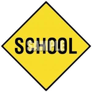 School Zone Caution Road Sign.