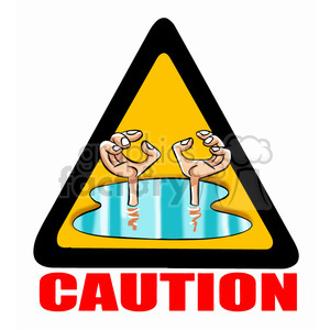 caution sign flooding clipart. Royalty.