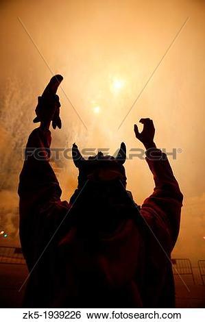 Stock Images of Cavalcade of fire, Fallas festival, Valencia.