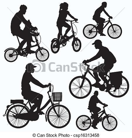 Vecteur Clipart de cavalcade, vecteur, Vélo, silhouettes.