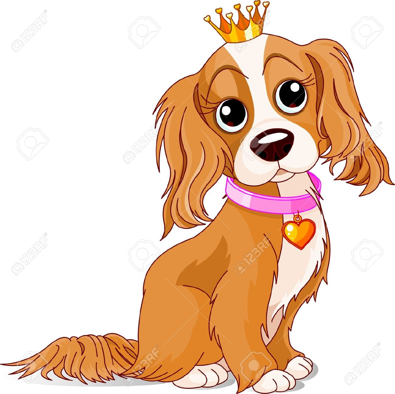Cavalier King Charles Spaniel With Crown Royalty Free Cliparts.