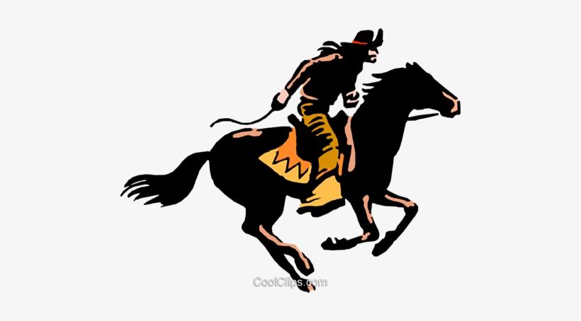 Cowboy On Horseback Royalty Free Vector Clip Art Illustration.