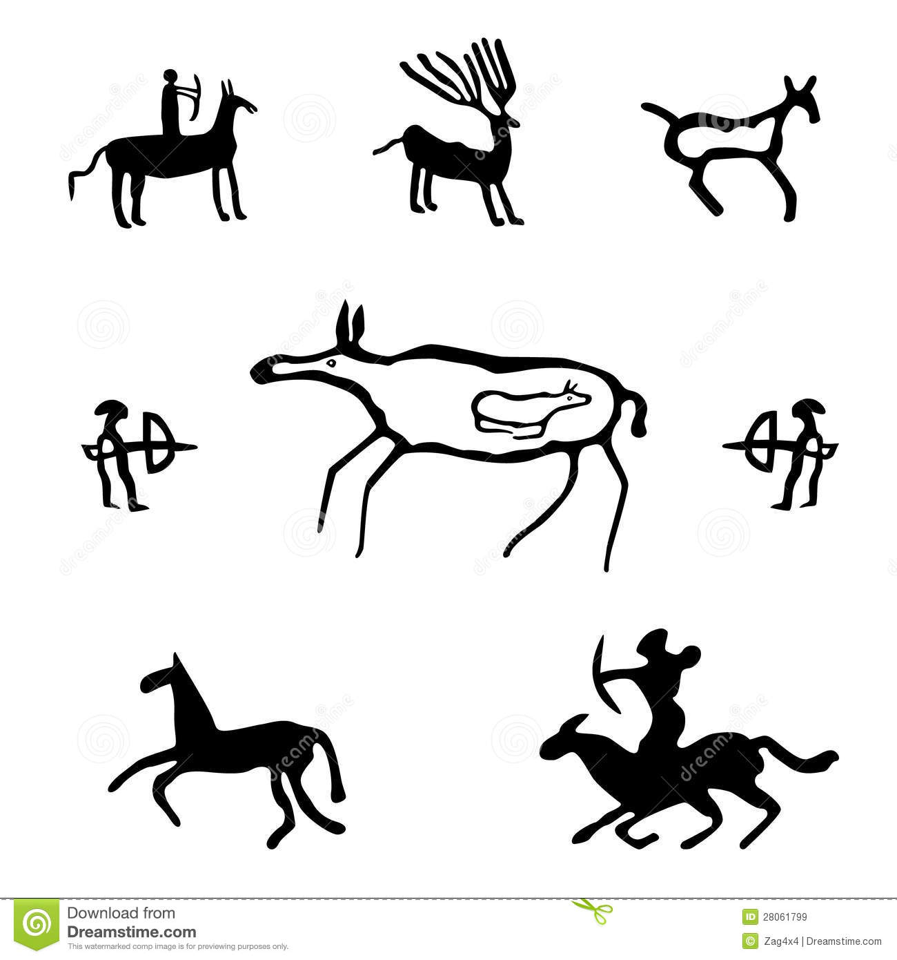 Caveman drawings clip art.