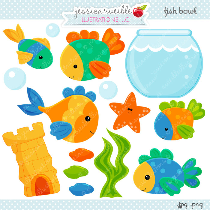 Fish Bowl Cute Digital Clipart Commercial Use OK Fish.