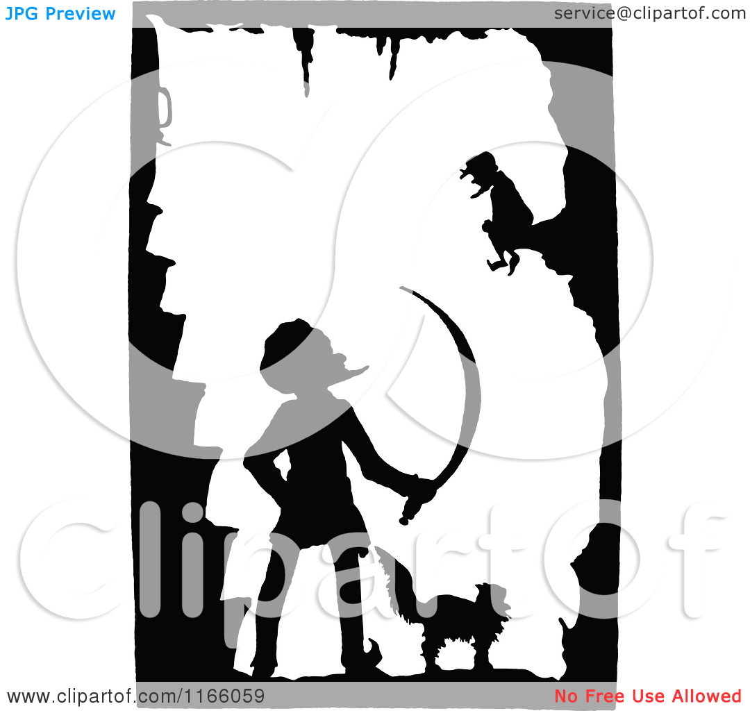 Clipart of a Silhouetted Cat and Men in a Cave.