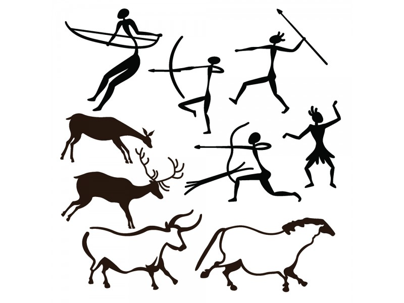 Stone Age Cave Paintings Clipart.