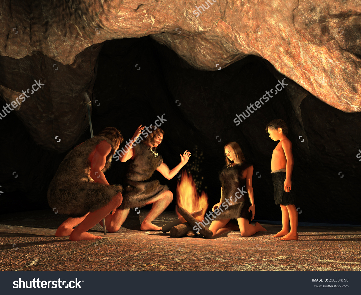 Cave Dwellers Gathered Around Campfire Stock Illustration.