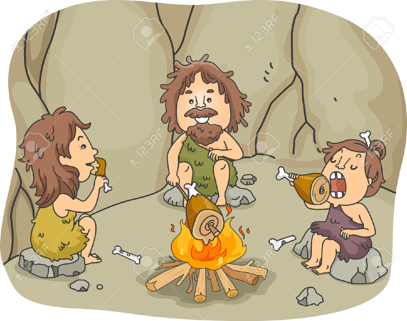 Illustration Of A Caveman Family Eating Chunks Of Meat Together.