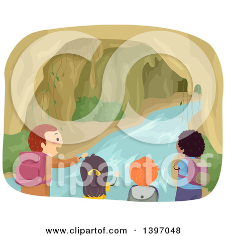 Clipart of a Group of Children Exploring a Cave with Water.