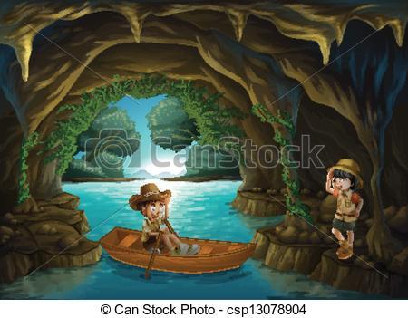 Cave Exploring Clipart.