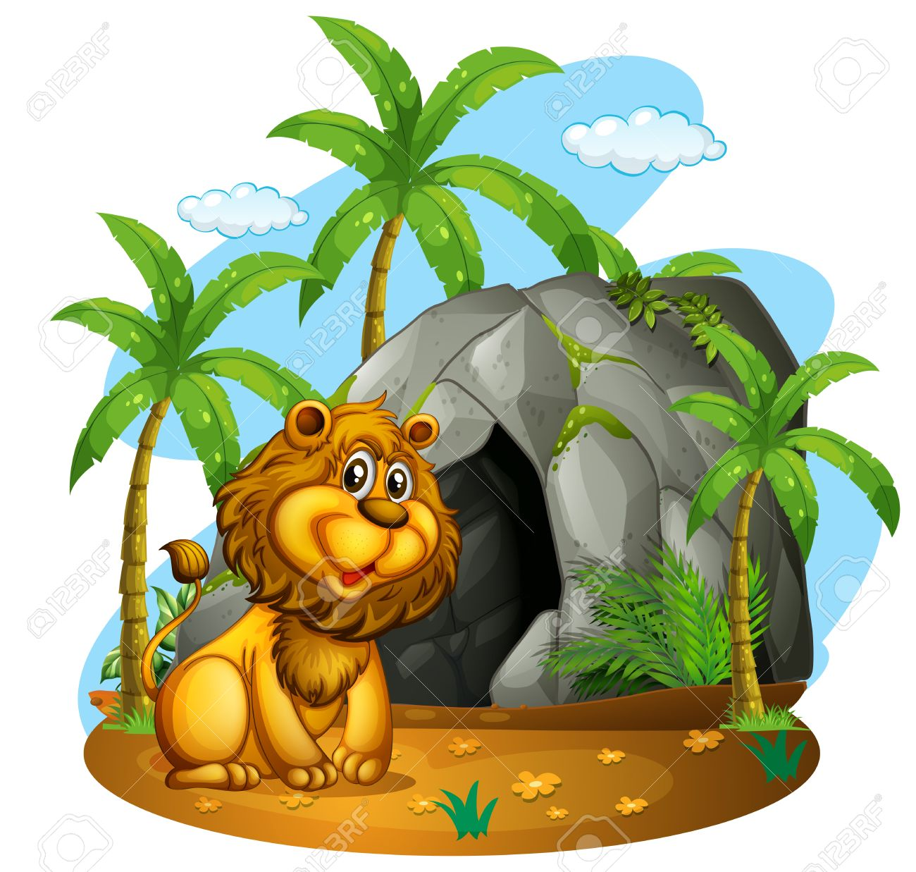 Lion In Cave Clipart.