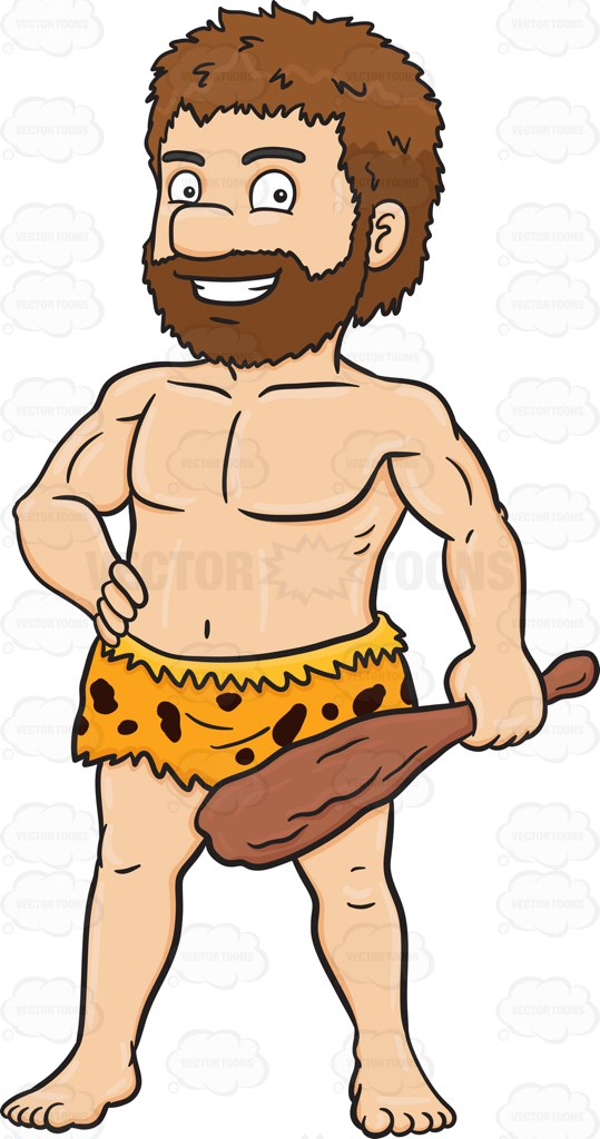 A Caveman Poses With His Stone Weapon.