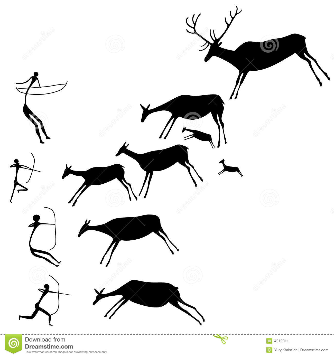 Cave painting people animals clipart.