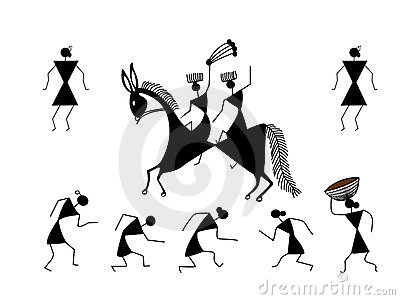 Tribal Cave Painting Royalty Free Stock Images.