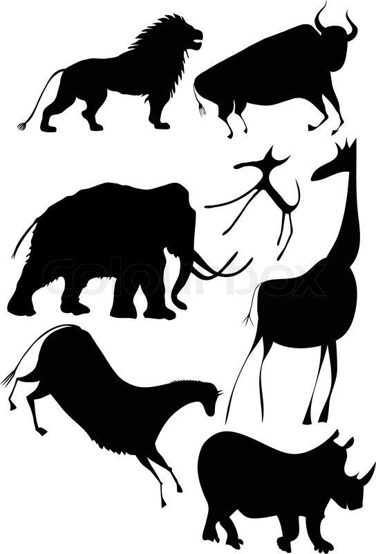 Rhino silhouette vector set of three.