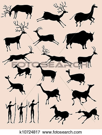 Clip Art of Cave rock painting animals silhouettes vector set.