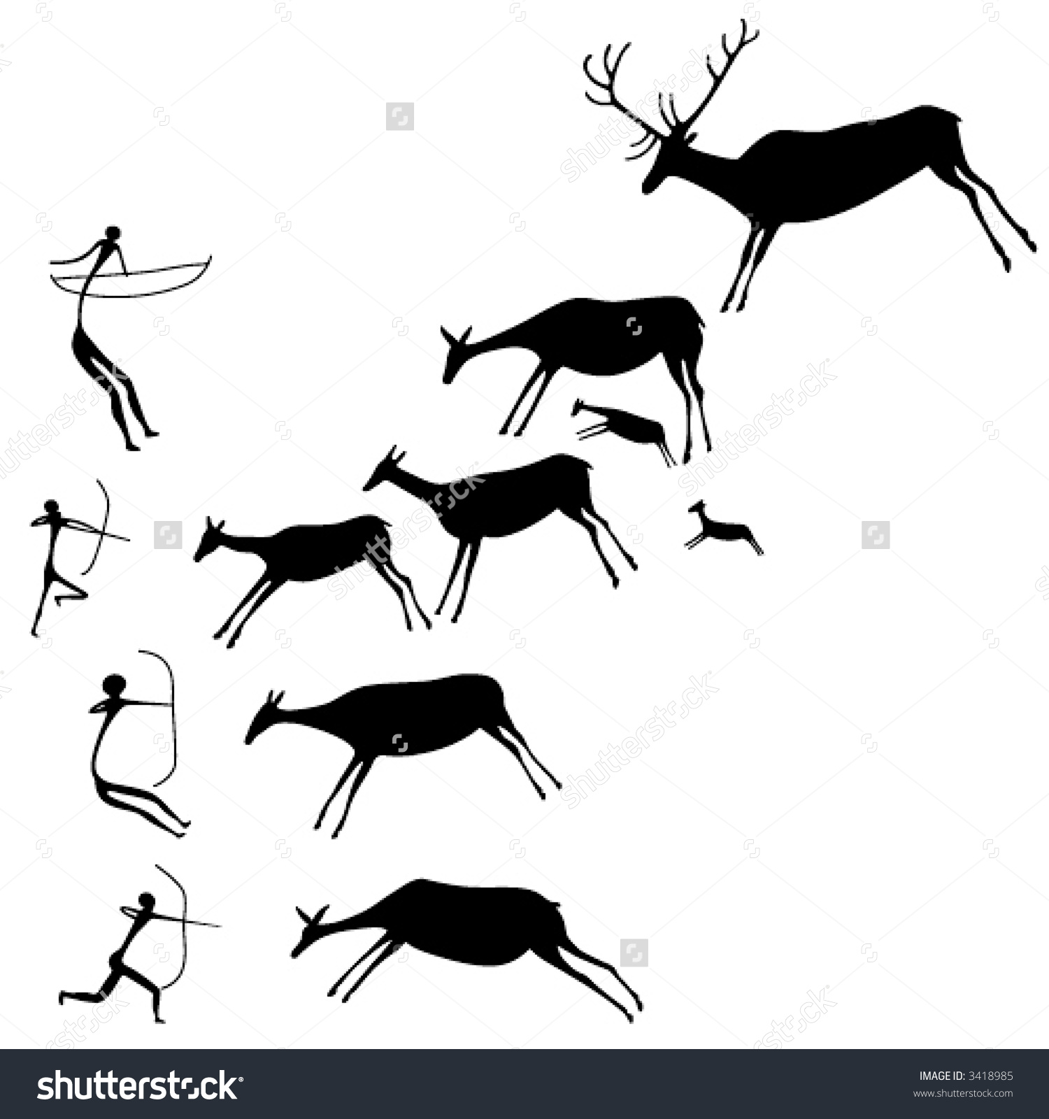 Cave Painting Hunters Deers Late Stone Stock Vector 3418985.