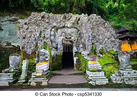 Stock Photography of Elephant Cave Temple in Bali.