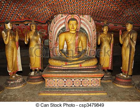 Stock Photographs of Buddha statues at Dambulla.