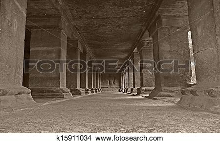 Stock Photo of Pillars at Pataleshwar Cave Temple, rock cut cave.
