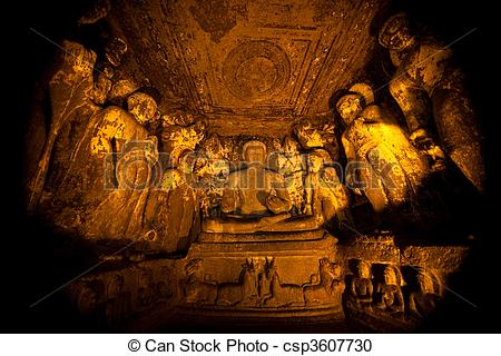 Stock Photography of Ancient cave temple in Ellora, India.