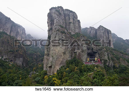 Stock Image of Taoist temple built in mountain side cave, Yangdang.