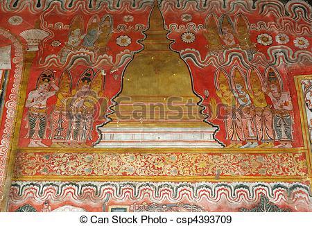 Stock Photographs of Fresco at Dambulla cave temple complex,Sri.