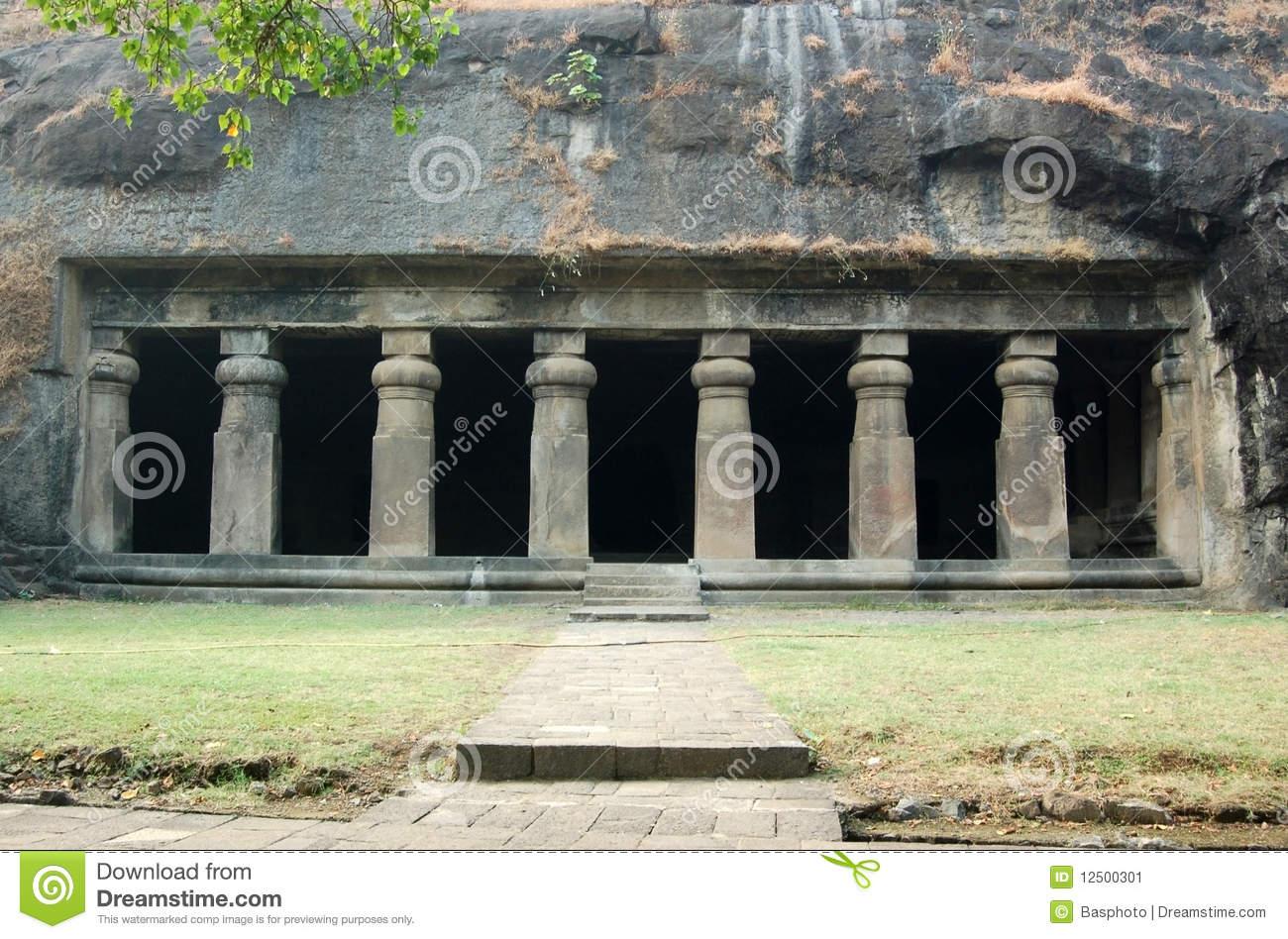 Elephanta Cave Temple Facade, Mumbai Stock Image.