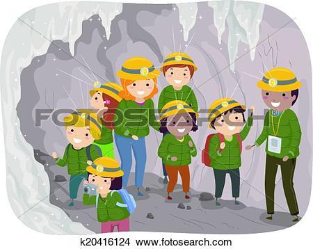 Clipart of Cave Tour Kids k20416124.
