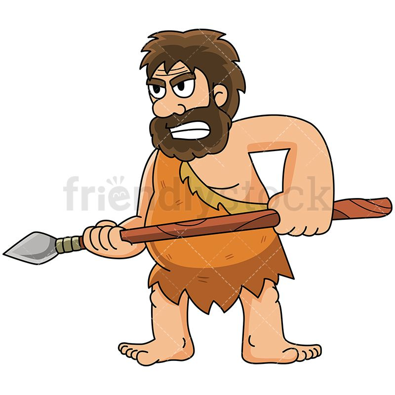 Caveman On Guard With His Spear.