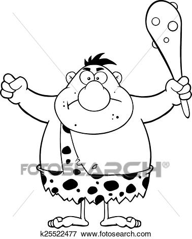 Black And White Angry Caveman Clip Art.