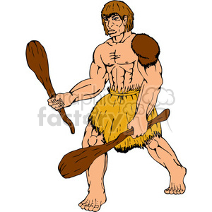 caveman club two 001 clipart. Royalty.
