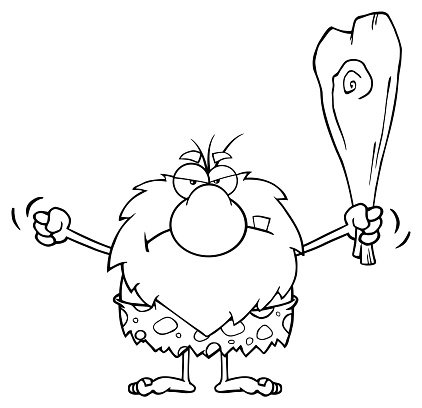 Black and White Angry Caveman Holding A Club Clipart Image.
