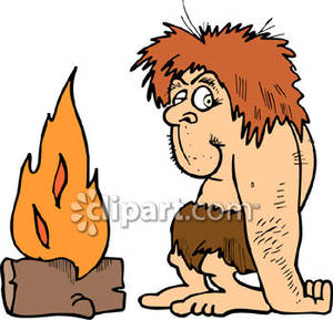Caveman Proud of His Fire.