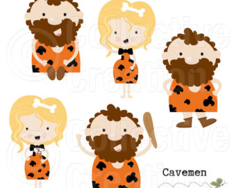 Cavemen clipart.