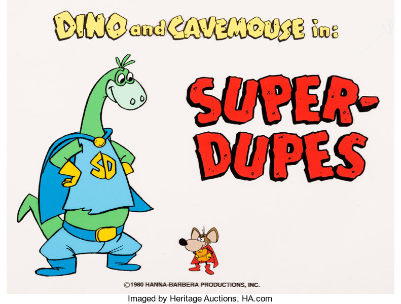 The Flintstones Comedy Show Dino and Cavemouse Title Cel.