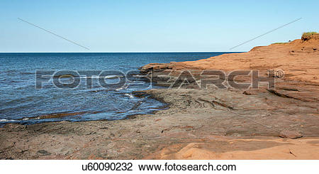 Stock Photo of Rock formations at coastline, Cavendish Beach.